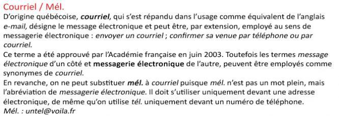 L'Académie Française - le site Internet Courriel
