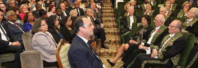 François Hollande, Président de la République, à la réception de Dany Laferrière 2015