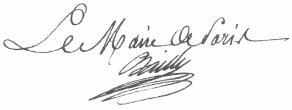 Signature de Jean-Sylvain Bailly, maire de Paris