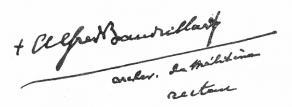 Signature d'Alfred Baudrillart, archevêque de Mytilène