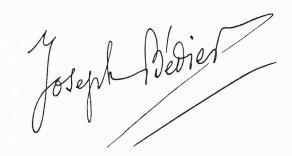 Signature de Joseph Bédier