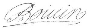 Signature de Jean Boivin le Cadet, dit Boivin de Villeneuve