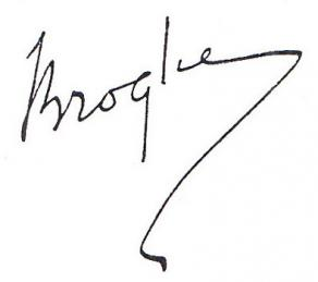 Signature de Maurice de Broglie