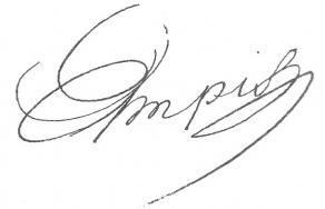 Signature d'Adolphe-Joseph Simonis Empis