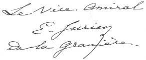 Signature d'Edmond Jurien de La Gravière
