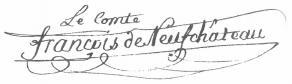 Signature de Nicolas François de Neufchâteau