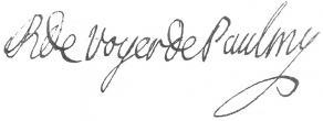 Signature d'Antoine-René de Voyer d'Argenson de Paulmy